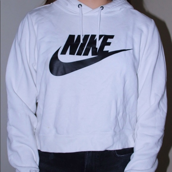 Nike Tops - Black and white nike cropped jacket on some hoodie